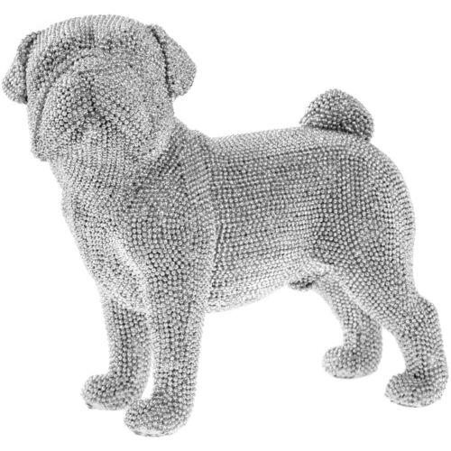 Silver Diamante Bling Standing  Pug Dog Sparkle Figurine Ornament Statue decor