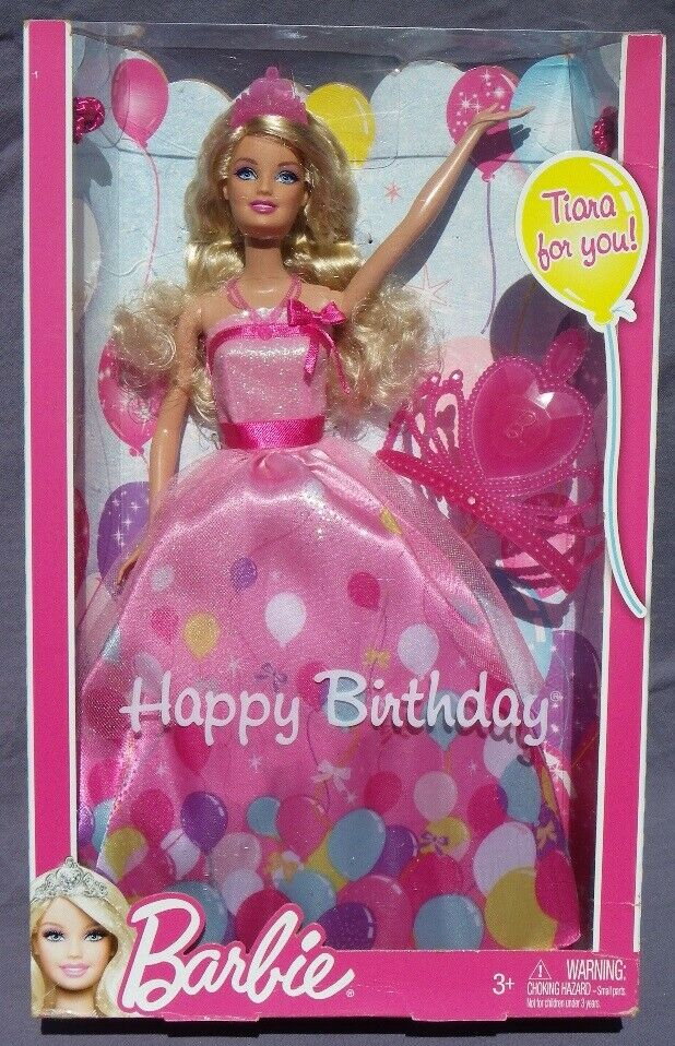 Barbie HAPPY BIRTHDAY 2011 Mattel W2862 Joyeux Anniversaire TIARE poupee NRFB