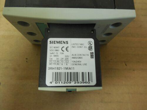 SIEMENS CONTACTOR 3RT1034-1AG20 110V COIL 45 AMP 3RT10341AG20 w// 3RH1921-1MA11