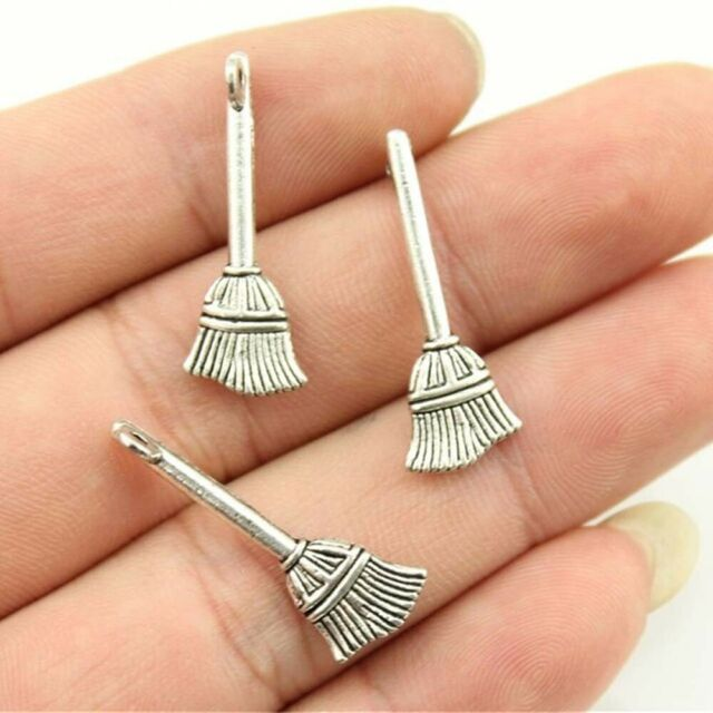 10pcs 27x8mm Retro Pendant Halloween Broom Charms For Jewelry Making DIY,