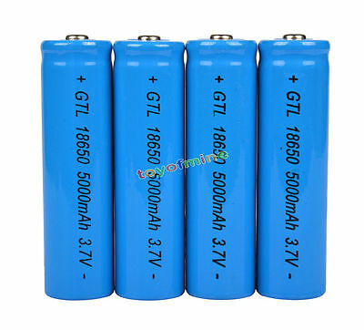 4x 3.7V 18650 GTL Li-ion 5000mAh Rechargeable Battery for LED Flahlight Torch