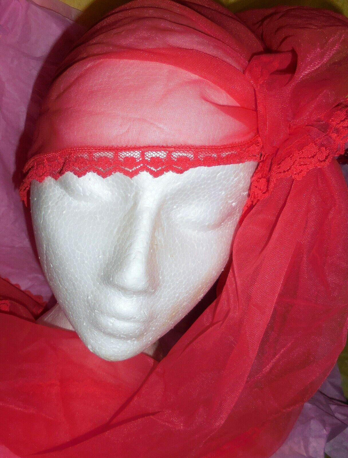 Vintage Snood Shocking Pink Nylon Chiffon Hair Wr… - image 9
