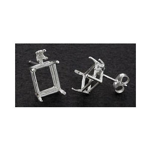 ( 6x4mm - 11x9mm ) Emerald Cut w/accent Solid Sterling Silver Earring Settings