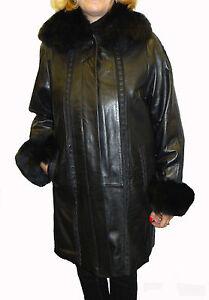 efdc43f09 Knoles & Carter PLUS SIZE Leather Coat with Fox Fur Collar | eBay