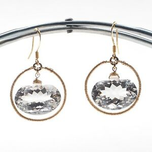 Water-Clear-Quartz-amp-Circle-Link-in-14k-Yellow-Gold-Filled-Drop-Dangle-Earrings