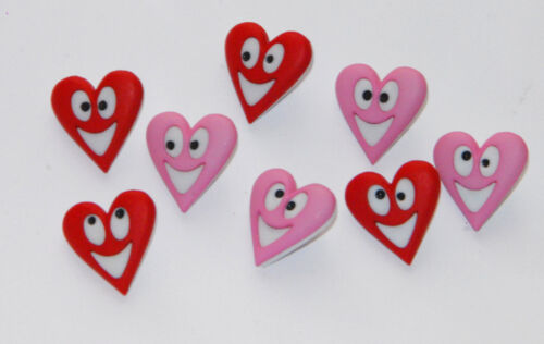 Happy Hearts Red /& Pink Smiley Face Heart  Buttons Jesse James Dress It Up