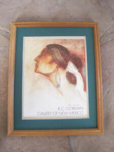 framed MATTED R C Gorman WOMAN WITH TURQUOISE EARRING  Navajo