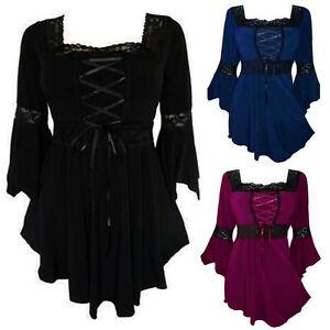 0bad1f81eae26 Plus Size Women Lace Up Blouse Shirts Ruffle Ladies Long Sleeve ...