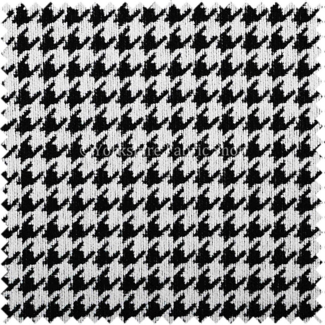 Black White Check Stylish Houndstooth Pattern Soft Woven Made Upholstery Fabric