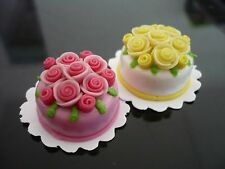 2 White Pink Red Round Cake Rose Top Dollhouse Miniatures Food Valentine Day