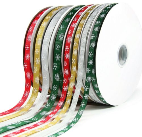 100 Yard 10mm /& 16mm Reels Grosgrain Christmas Snowflake Ribbon 91 metre