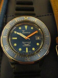 Squale-1521-Blue-Orange-Automatic-Diver-039-s-Watch-ETA-2824-40mm-300m-Exc-Cond