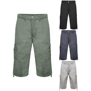Para Hombre Por Debajo De La Rodilla Largo Combate Cargo Pantalones Cortos Cintura Elastica 3 4 Talla Pantalones Ebay