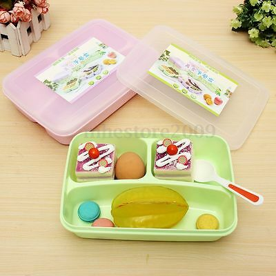 Separated Utensils Food Storage Container Microwave Oven Bento Lunch Box + Spoon