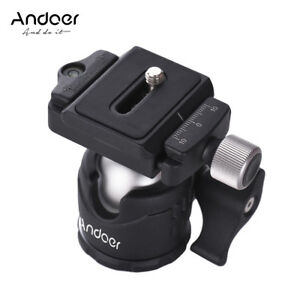 Andoer 360 Camera Tripod Ball Head w/ QR Plate Bubble Level for Canon Nikon DSLR