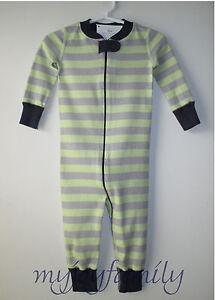 2247d32be HANNA ANDERSSON Baby Organic Zip Sleeper Grey Green Stripe 50 0-6 ...