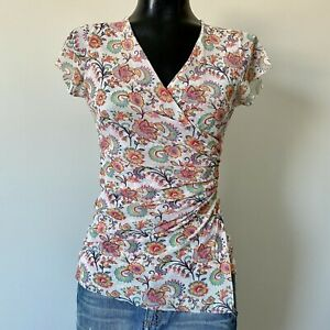 Large-Ladies-Sweet-Pea-Floral-Nylon-Mesh-Ruched-Blouse-Top