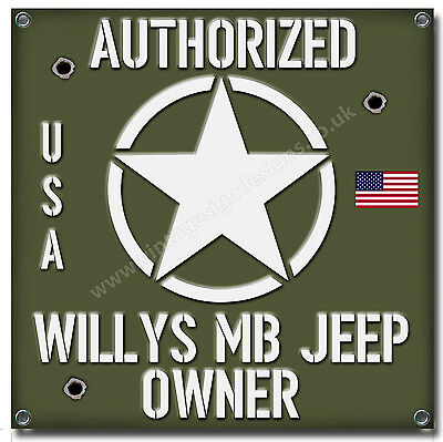 "WILLYS MB JEEP OWNER WATERPROOF 550GSM GRADE PVC GARAGE BANNER 28/"" X 28/"""
