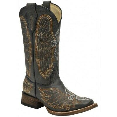Corral Kid/'s Square Toe Black//Silver//Gold Wing /& Cross Western Boots A1032