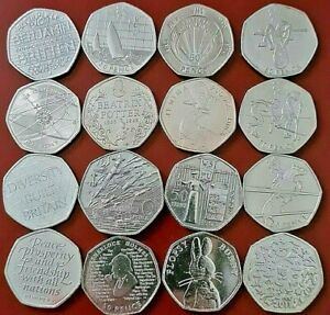 50p COINS FIFTY PENCE,OLYMPICS,BEATRIX POTTER,COMMEMORATIVE,KEW COIN