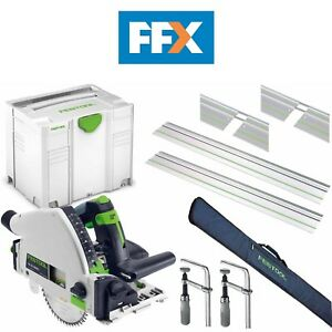 Festool TS55KIT4 240v Plunge Saw 2 x Rails 2 x Connectors 2 x Clamps Rail Bag