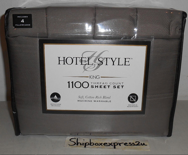 HOTEL STYLE MANATEE grau KING 1100 THREAD COUNT SOFT COTTON BLEND SHEET SET