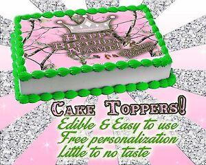 Brilliant Camo Princess Edible Cake Topper Camouflage Girl Pink Image Sugar Funny Birthday Cards Online Elaedamsfinfo