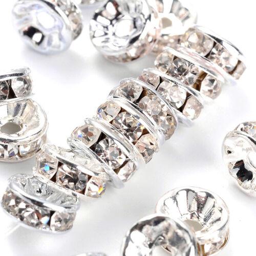 100 Brass Paved Rhinestone Spacers Silver Loose Metal Beads Nickel Free 8mm DIA