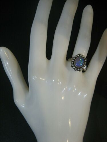 ESTATE VICTORIAN 14K WHITE GOLD OPAL AND SEED PEA… - image 1
