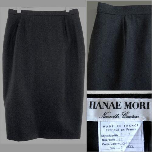 pura lana dritta su Grigio 38 Hanae a Francia scuro Mori S misura Gonna tubino 6 wz4Pwq
