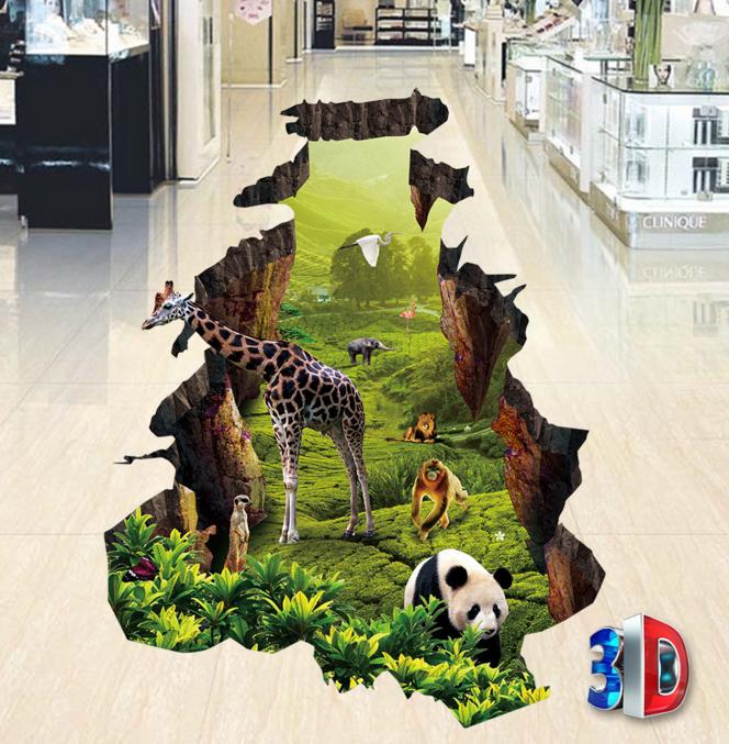 3D Panda Giraffe 653 Floor WallPaper Murals Wall Print 5D AJ WALLPAPER UK Lemon