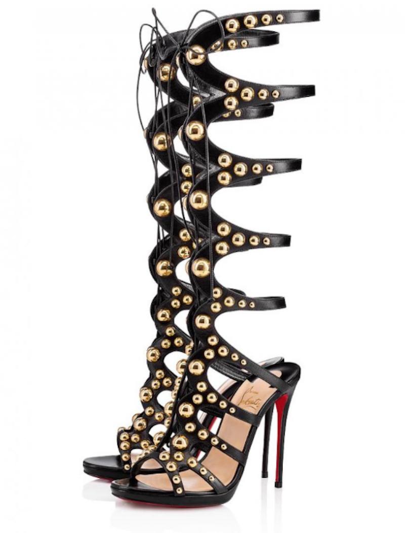 NIB Christian Louboutin Amazoutiful 120 Black gold Studded Sandal Heel Pump 37