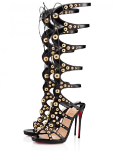 outlet store 22557 1a149 NIB Christian Louboutin Amazoutiful 120 Black Gold Studded ...