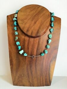 Rare-Victorian-1880s-1890s-Arts-Crafts-Tumbled-Turquoise-Chain-Necklace-33-90g