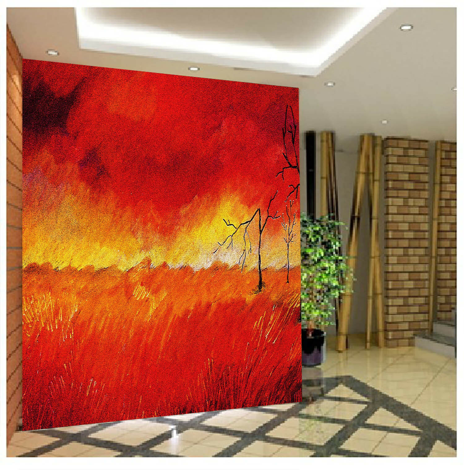 3D  rot Sky Field Branches Wall Paper Wall Print Decal Wall AJ WALLPAPER CA
