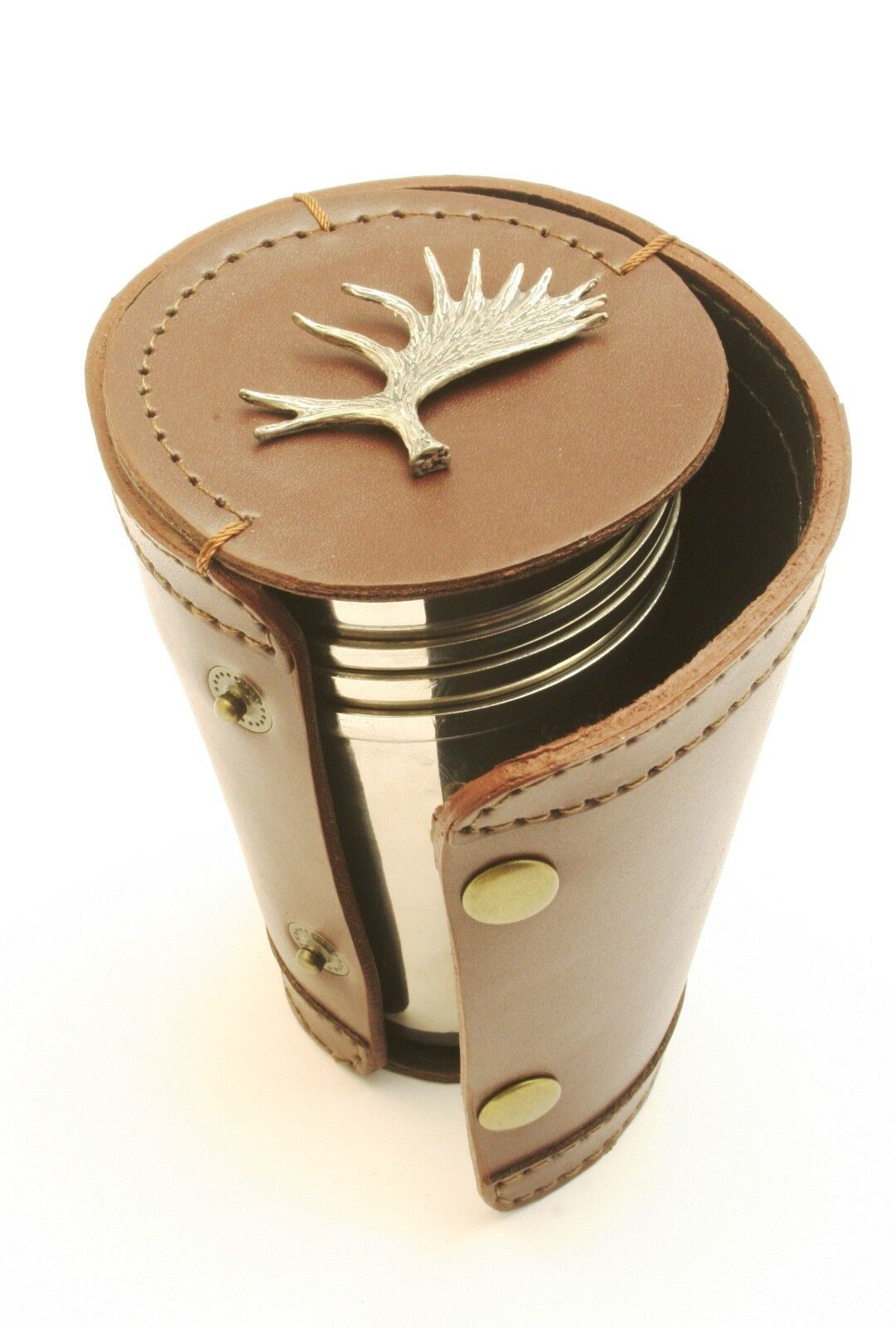 Moose Antler Shooting 4 Stacking Cups Stirrup Shot Cups Stacking in Leather Case NEW 21747e