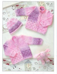 "PREM 12/"" NO 20 BABY CARDIGANS /& HAT  Knitting Pattern DK - 20 /"" CHEST"
