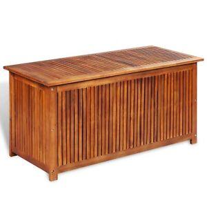 Details About Festnight Outdoor Patio Garden Deck Storage Box, Bench Solid  Acacia Wood