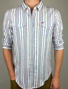 HOLLISTER-100-Cotton-Men-039-s-Casual-Long-Sleeve-Shirt-Blue-Stripe-Sz-S-M-amp-L
