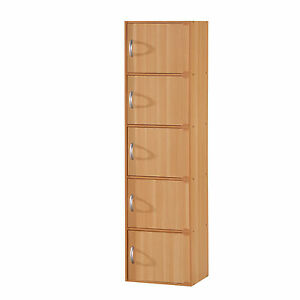 Kitchen Pantry Storage Cabinet 5 Door Tall Wood Organizer Beech ...