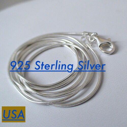 """18/"""" Sterling Silver SNAKE Chain Necklace 1mm 925 Italy 16/"""" 22/"""" 20/"""" 24/""""  NEW"""