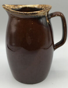 """Vintage Hull 6.5"""" Brown Drip Glaze Pottery Pitcher USA Oven Proof"""