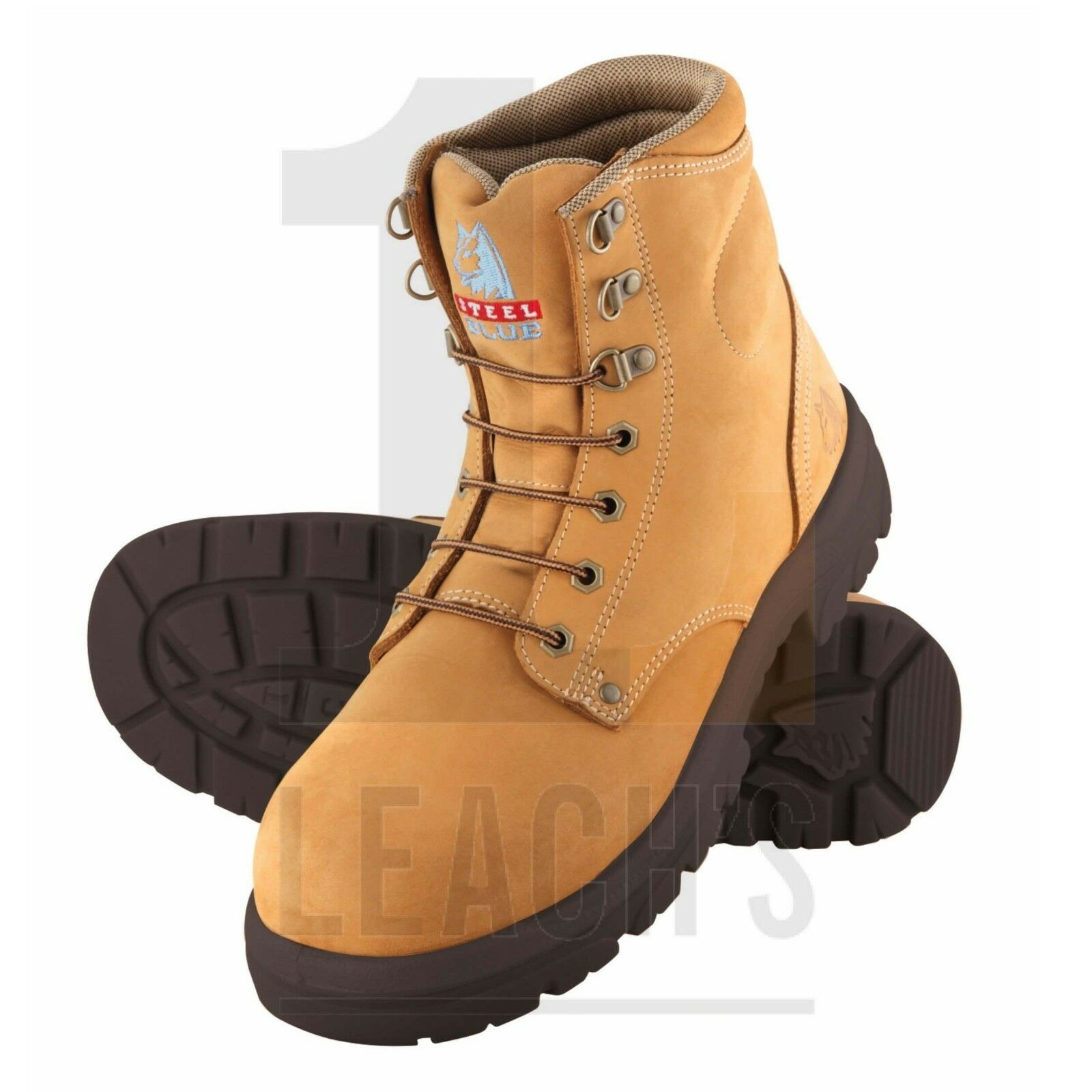 STEEL blueE WORK SAFETY BOOTS IN SIZE 7 41 WHEAT STEEL TOE CAP COMFORT RRP