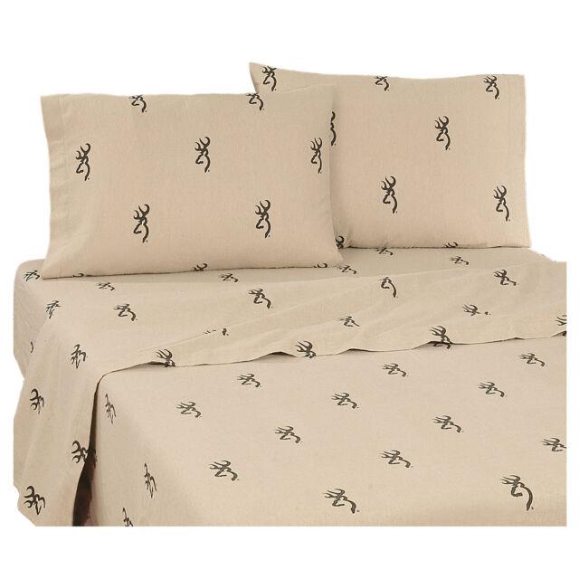 Browning Buckmark King Sheet Set 4pc Tan Original Deer Logo Hunting Rustic Cabin