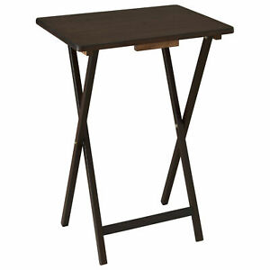 premium selection 7c787 314e0 Details about 5 Piece Folding TV 4 Tray + Stand Set Wood Dinner Walnut Side  Table Easy Clean