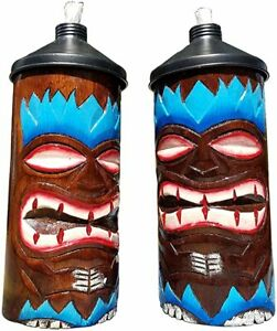 Blue-Flame-Design-HANDCARVED-Wood-Table-TOP-Tiki-Torches-with-Free-Cannisters