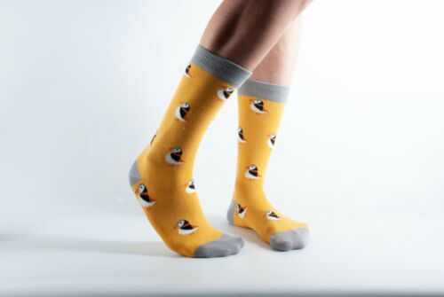 UK3-7 EU36-40 Doris and Dude Socks in Bamboo//Organic Cotton Gold with Puffins
