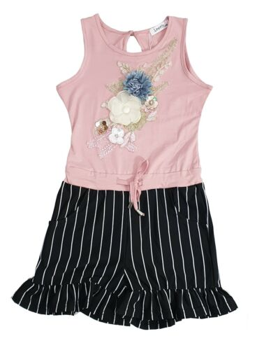 Kids Girls Embroidery Stripe Party Outfit Playsuits Jumpsuits Romper Shorts Summ
