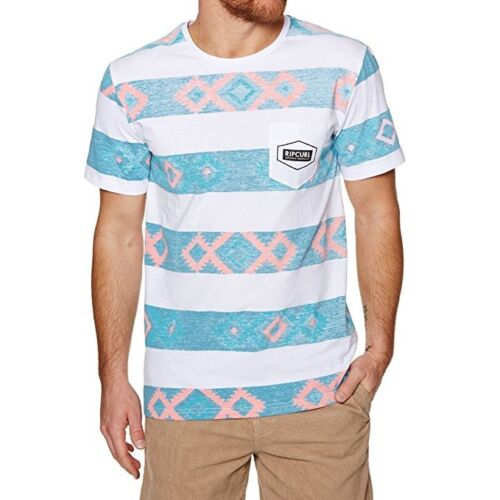 RIP CURL MENS T SHIRT.NEW UNDERLINE WHITE COTTON STRIPED POCKET TEE TOP 8S P5 32