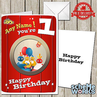 749; Large Personalised Birthday card; Twirlywoos; for any name age; to little